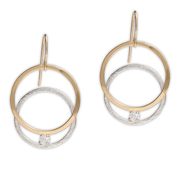 Handmade Hammered 14kt gold fill circle earrings with texture sterling interlocking circle and 3mm White CZ