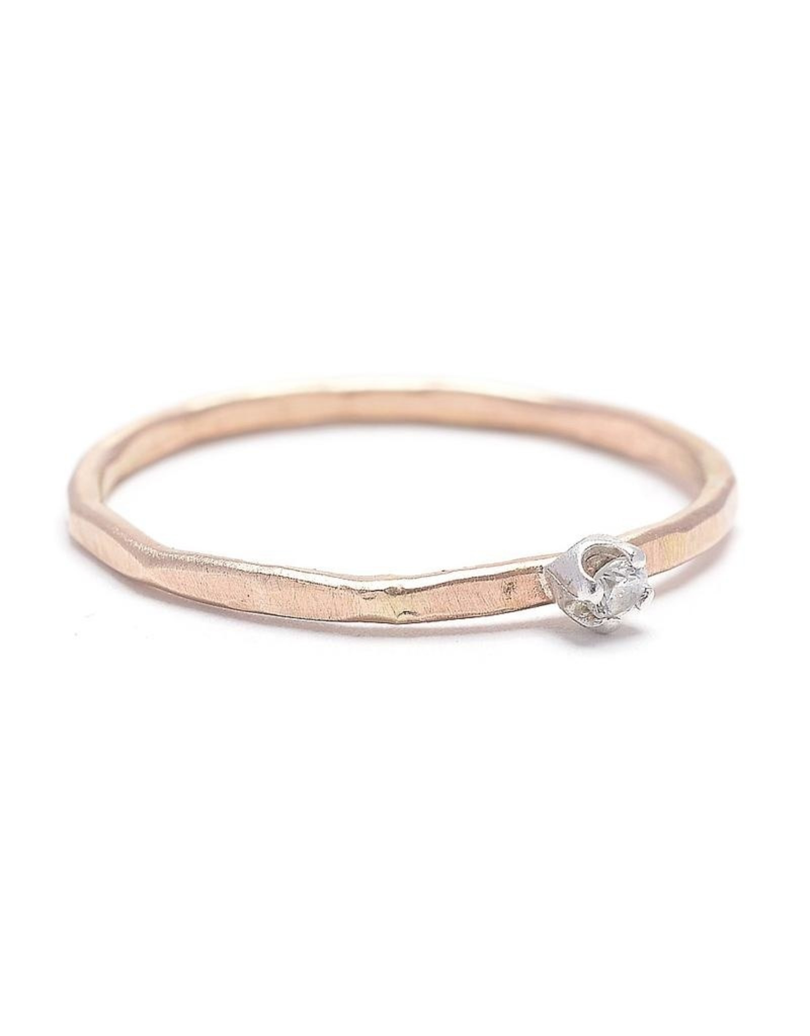 J&I Hammered Thin Band with CZ Stacking Ring