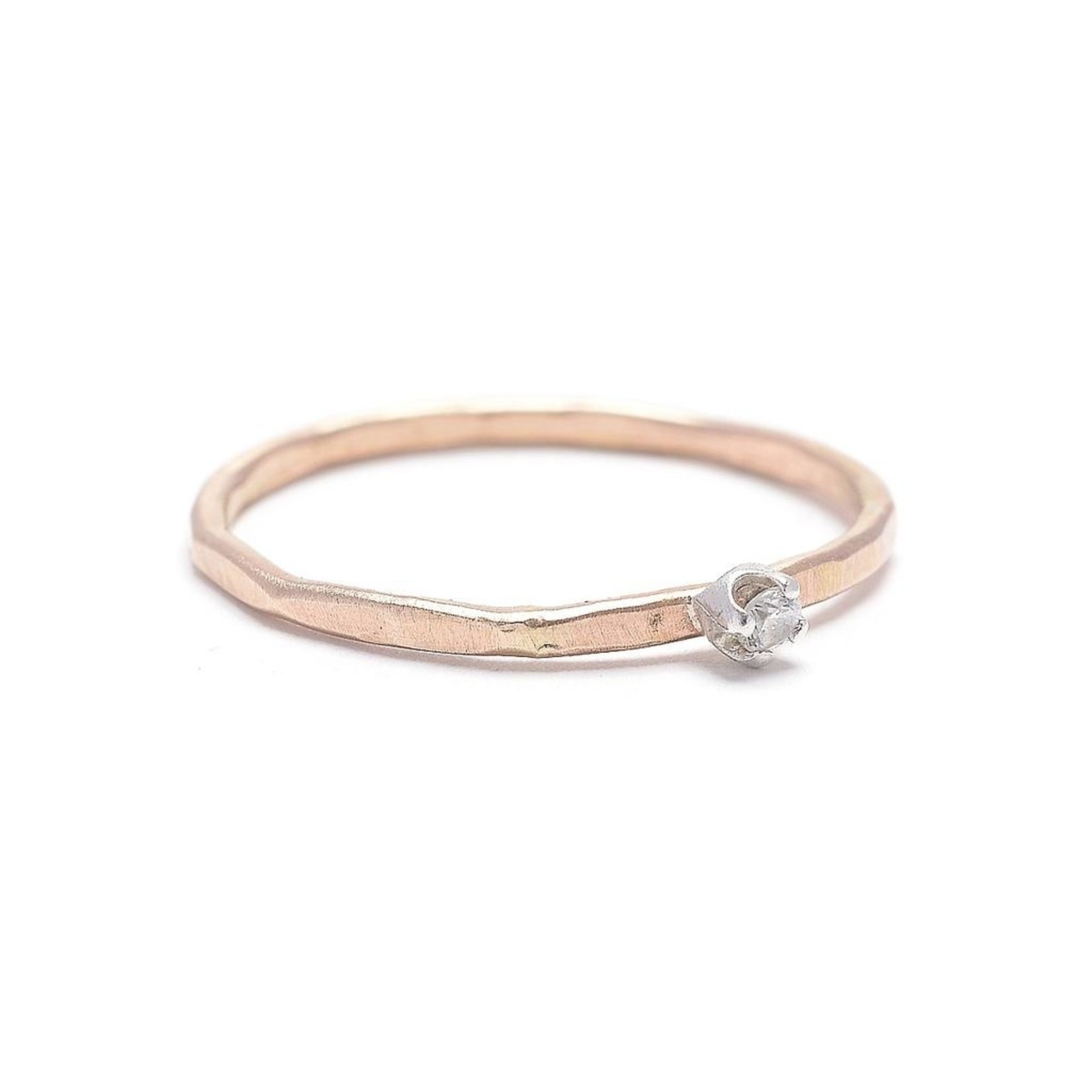 Hammered Thin Band with CZ Stacking Ring