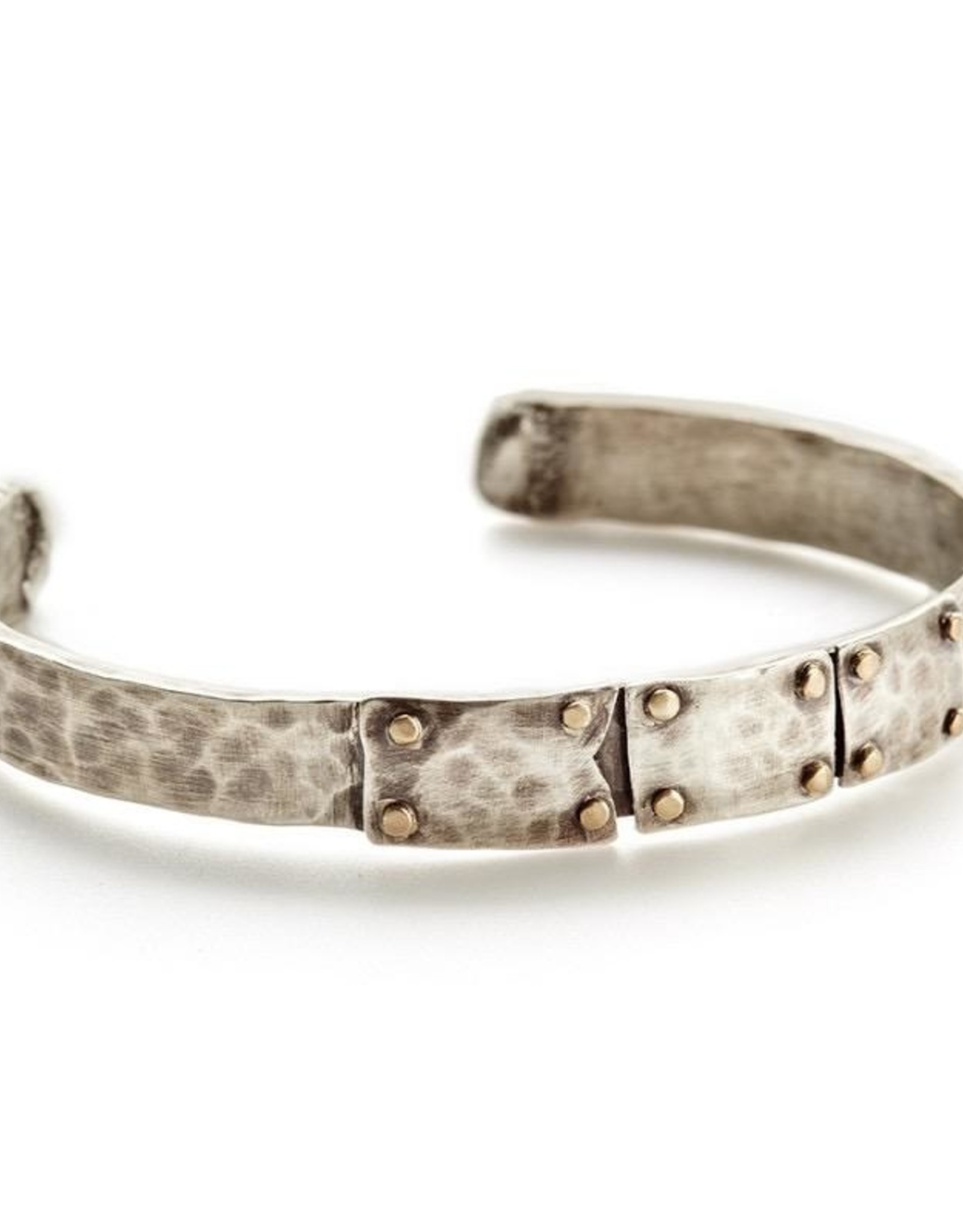 Handmade Rugged Sterling Silver Oxidized Gold Rivet Cuff Bracelet