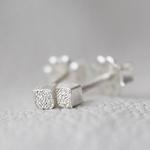 Handmade Silver Diamond Dusted | Small Cube Stud Earrings