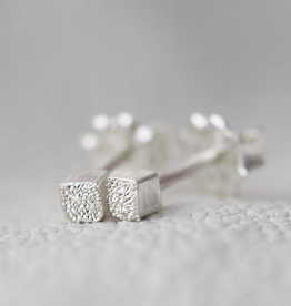 Handmade Silver Diamond Dusted | Small Cube Stud Earrings
