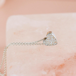 """Sterling Silver Diamond Dusted Heart Necklace, 16"""" & 18"""""""
