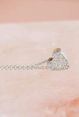 "Sterling Silver Diamond Dusted Heart Necklace, 16"" & 18"""