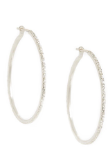 Handmade Diamond Dusted | Silver Medium Hoop Earrings