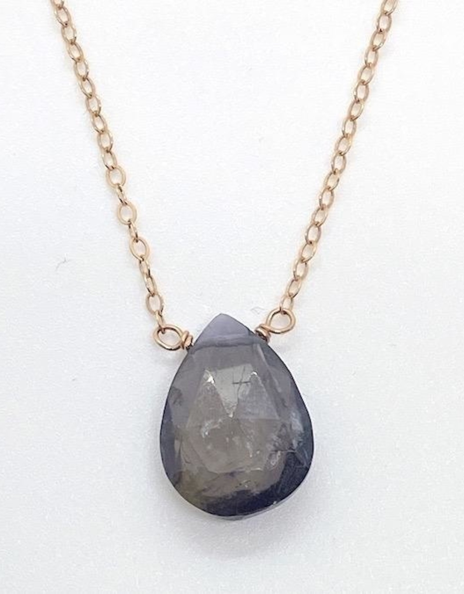 Handmade Rose Gold Filled Necklace with Iolite Drop