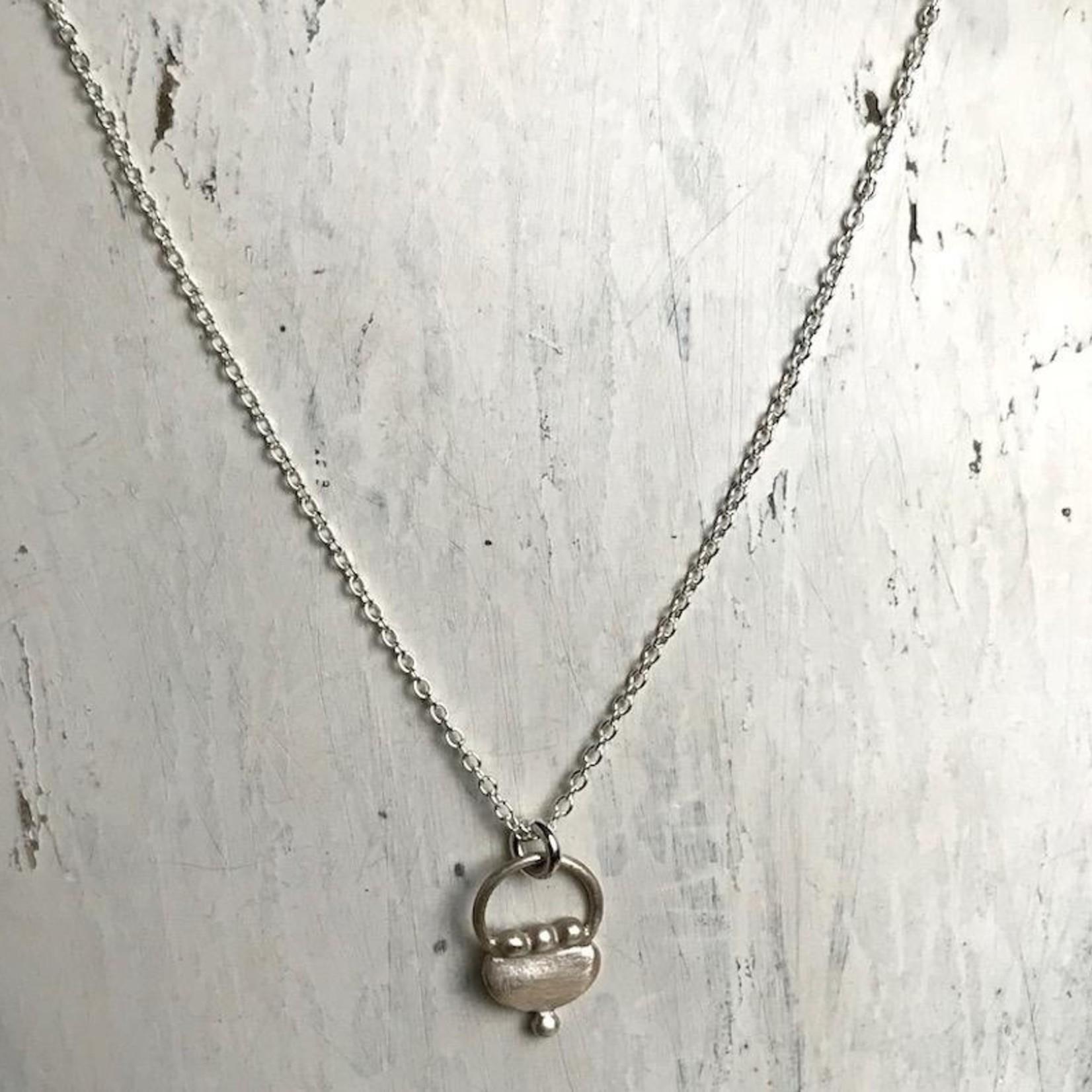 Handmade Silver Tiny Purse Design Necklace