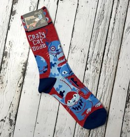BlueQ Crazy Cat Dude Men's Crew Socks
