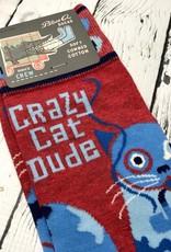BlueQ Crazy Cat Dude Men's Crew Socks