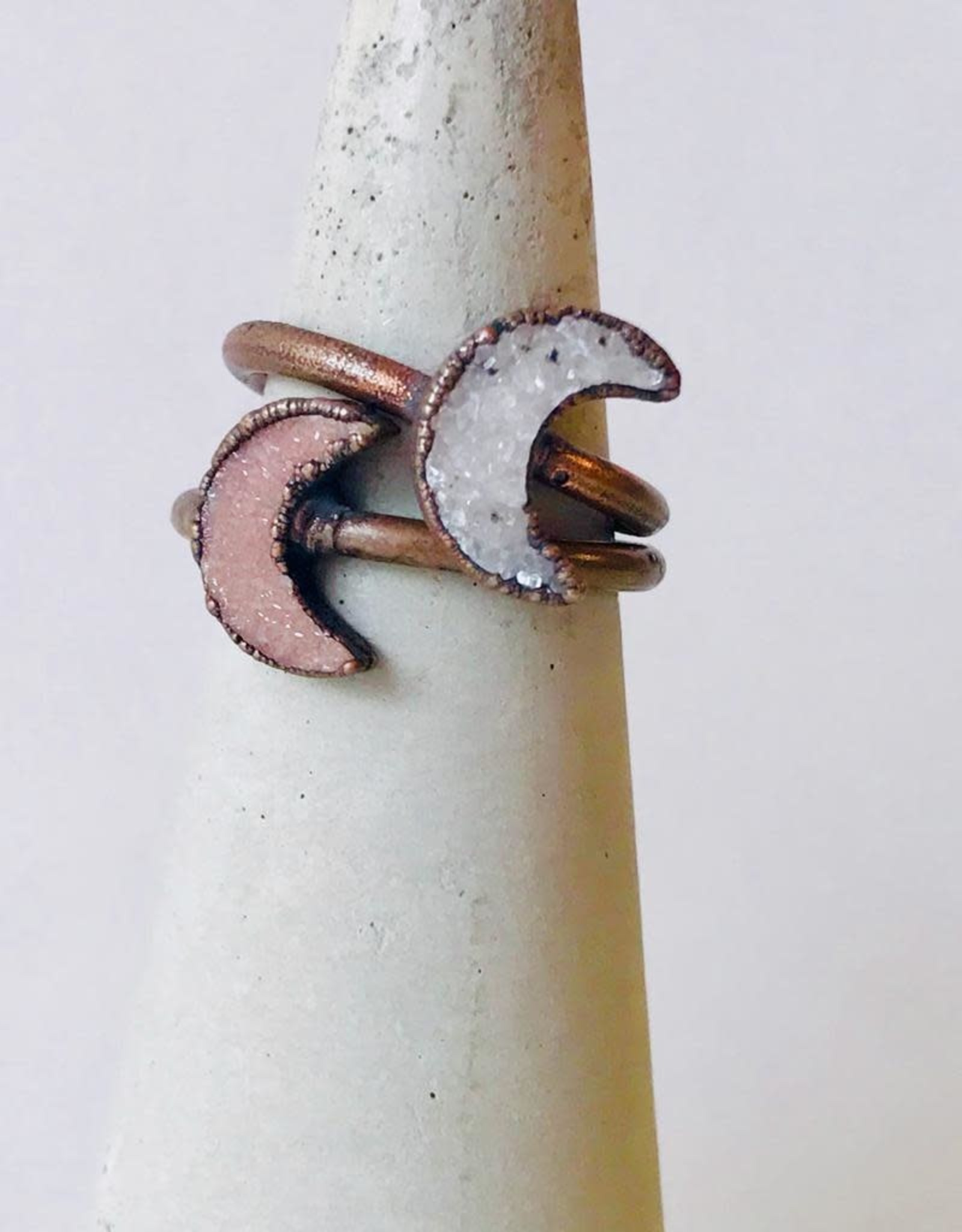Copper Ring with Crescent Moon-Shaped Druzy