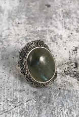 TigerMtn Sterling Silver Ring with Large bezel set Labradorite stone, Size 7