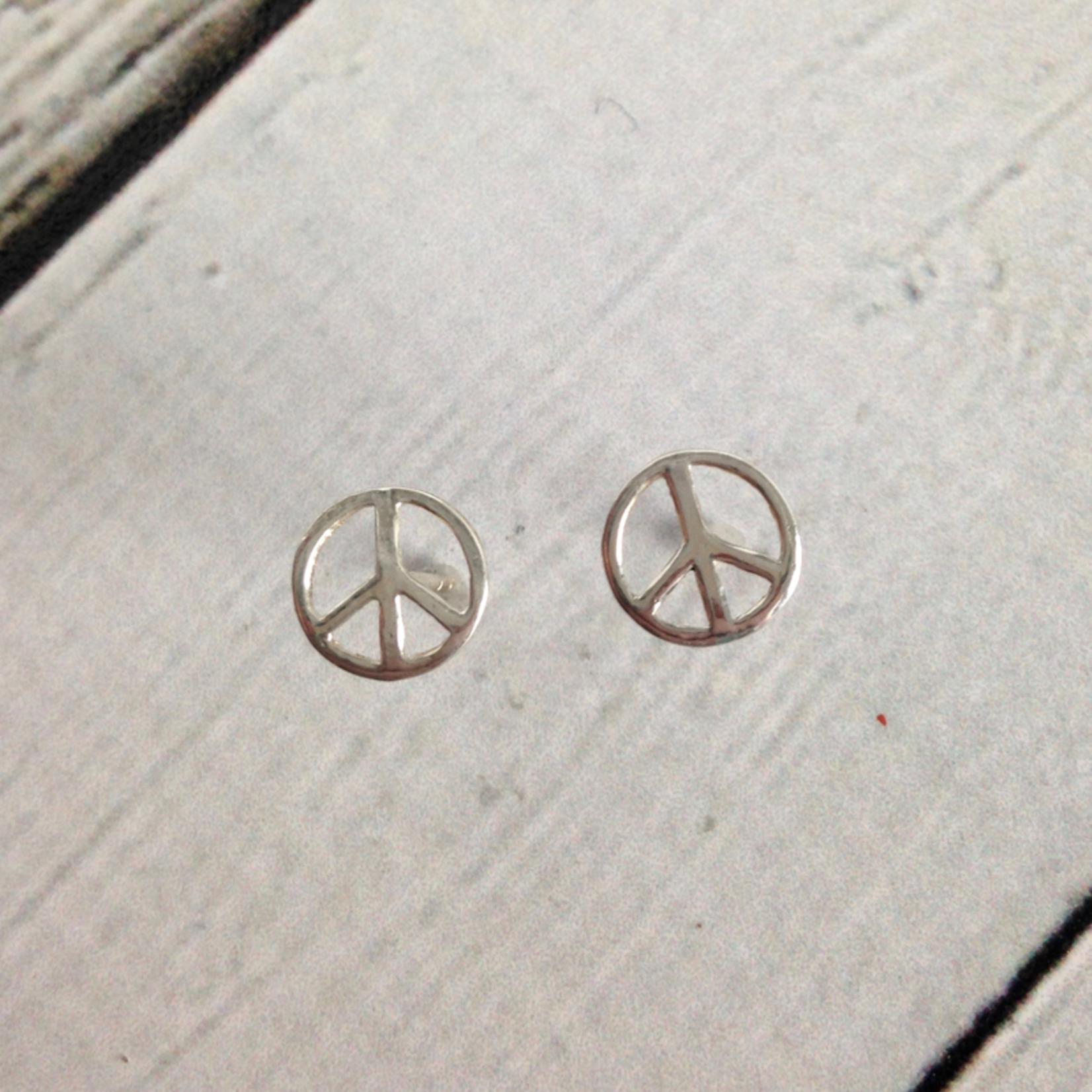 Peace Sign Stud Earrings, Sterling Silver