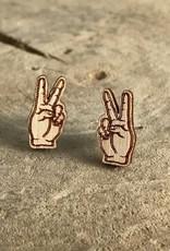 Handmade peace sign Lasercut Wood Earrings on Sterling Silver Posts