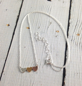 """Boma Sterling Silver and Mixed Metals 3 Hearts Necklace, 16+2"""""""