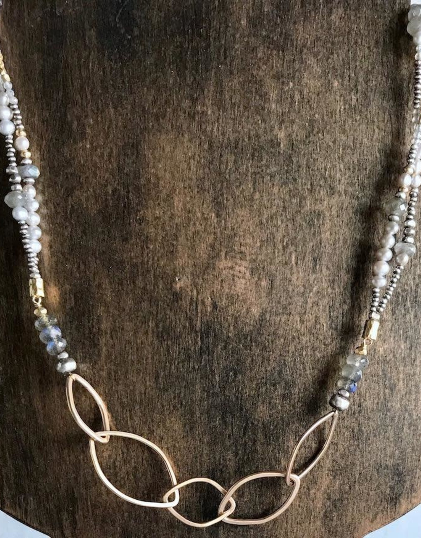 """J&I Handmade14kt Goldfill Leaf shape links on double strand 24"""" necklace strung with sterling, 6mm labradorite, grey pearl, and 14kt gold vermeil bead"""