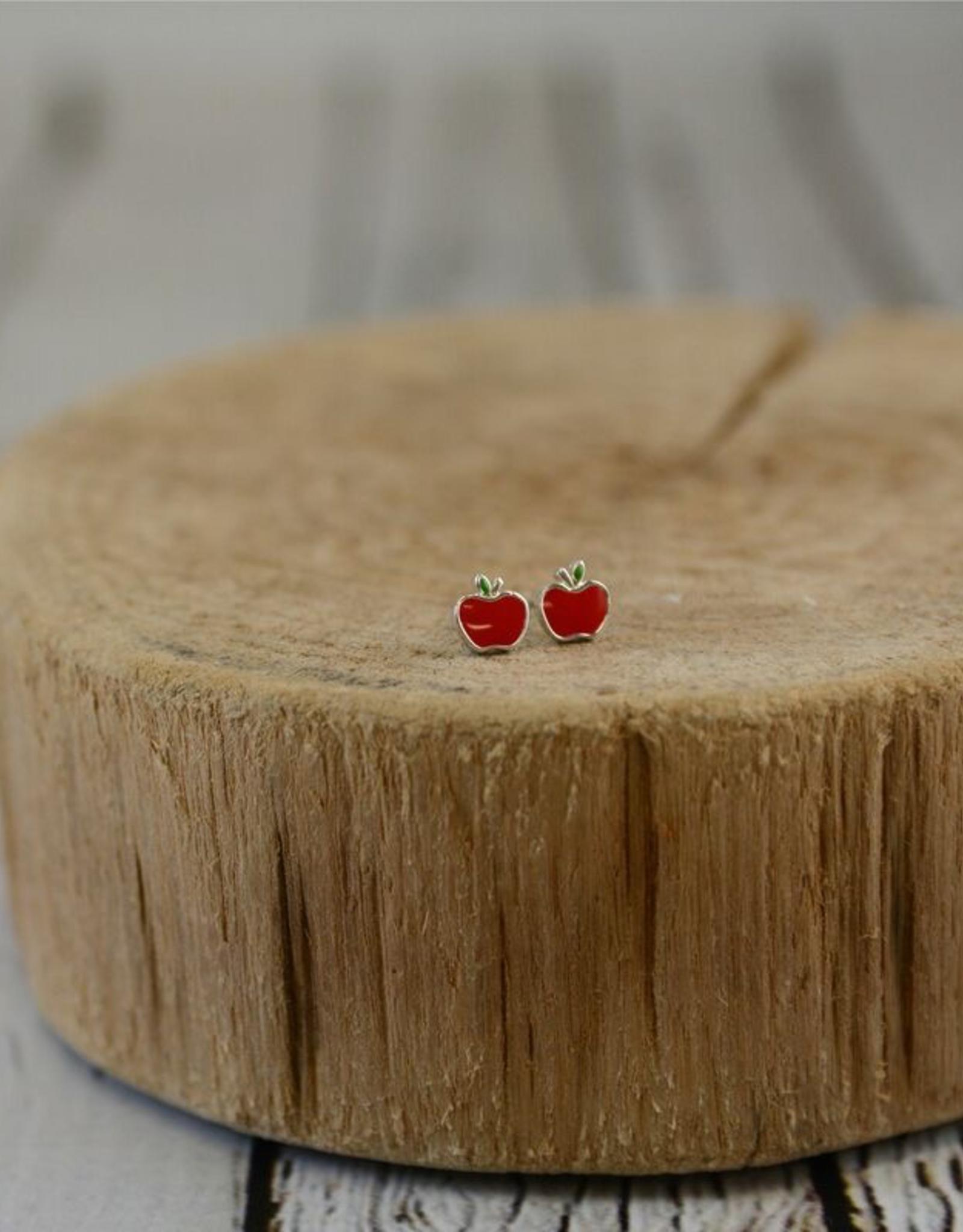 Sterling Silver and Red Enamel Apple Stud Earrings