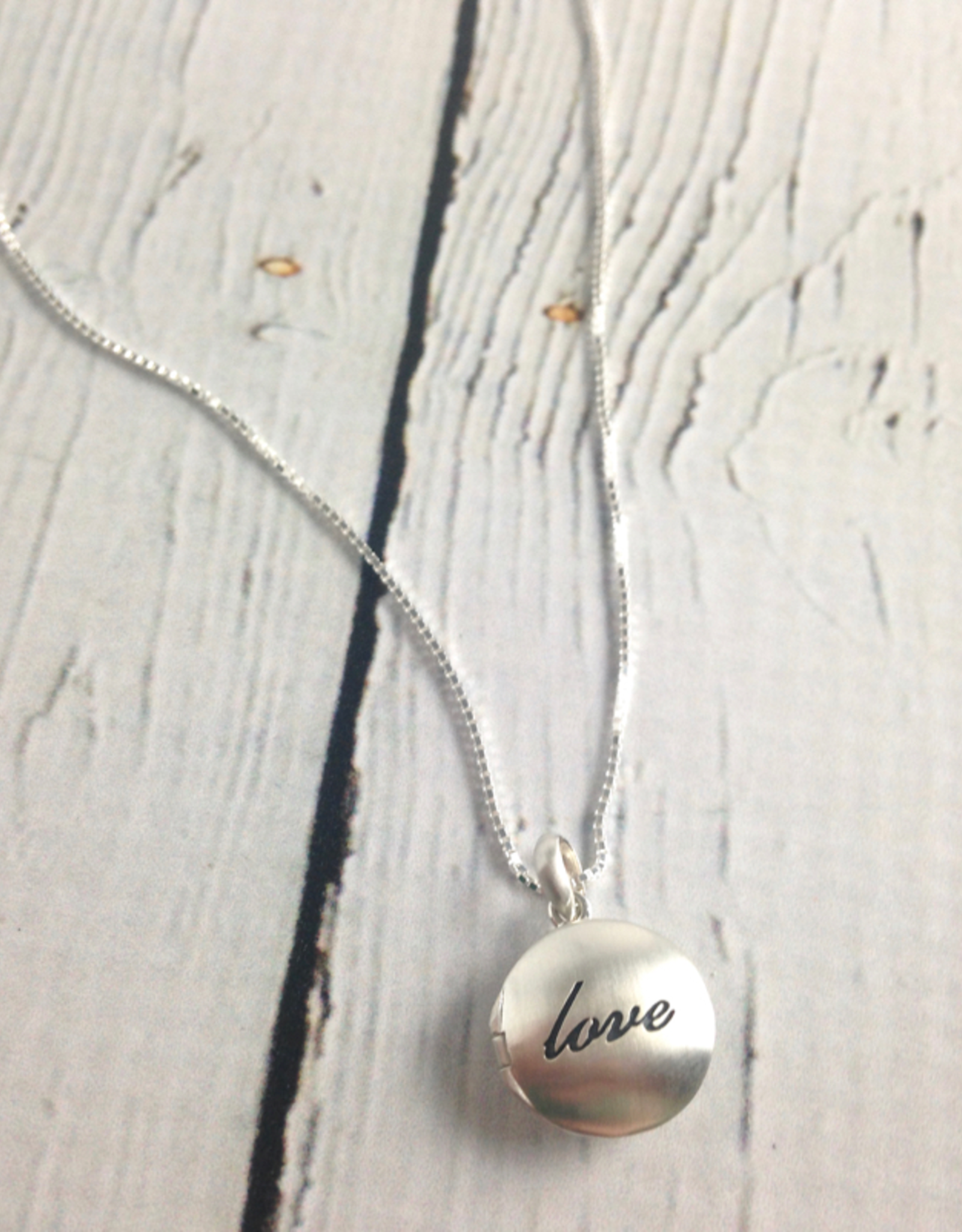 """Boma Sterling Silver Neckalce with Brushed Silver """"love"""" Locket"""