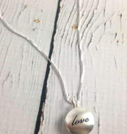 "Boma Sterling Silver Neckalce with Brushed Silver ""love"" Locket"