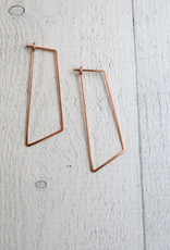 Freshie & Zero Rose Gold Filled Shift (Large Angled Rectangle) Minimal Hoop Earrings