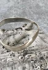 Solid Sterling Silver Matte Wavy Bangle Bracelet