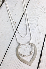 Handmade Matte Sterling Silver Lotus on Double Strand Necklace by Julia Britell Designs