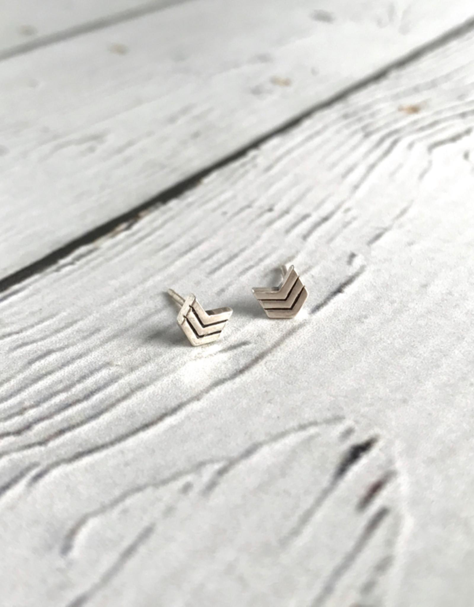 Boma Sterling Silver Chevron Stud Earrings
