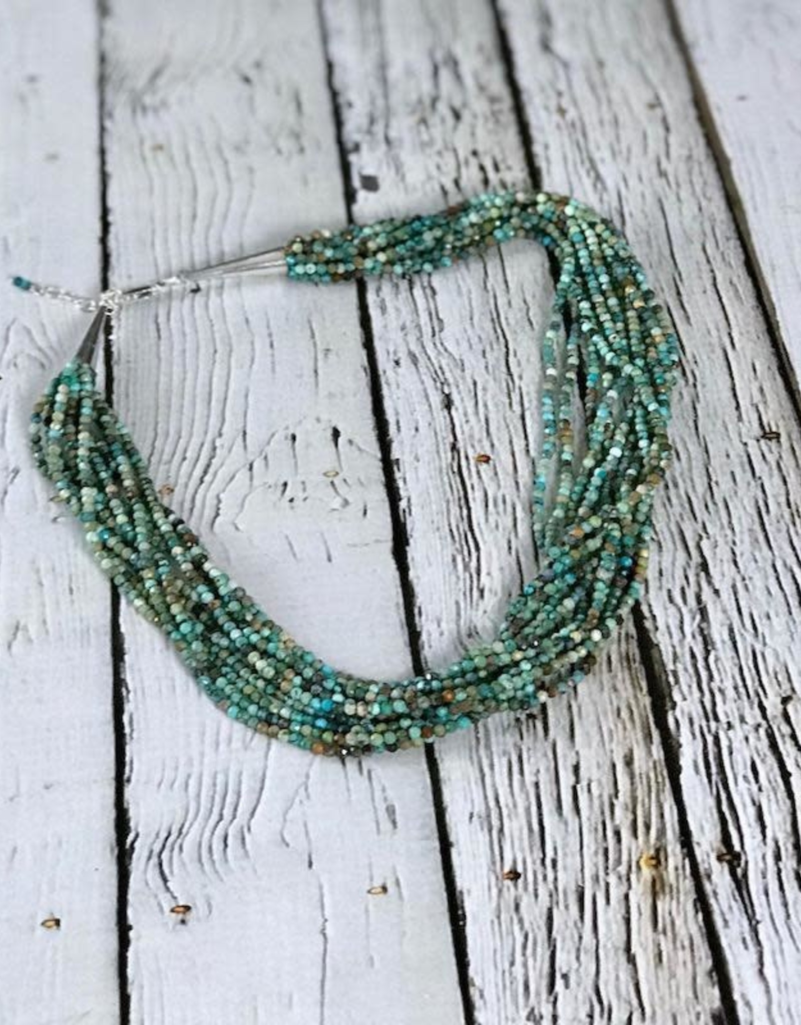 """Multi-Strand Tiny Faceted Turquoise Bead Necklace with Sterling Silver End Caps and Clasp, 18"""" +2"""" Ext."""