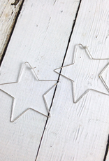 Recycled Sterling Silver Large Hammered Star-Shaped Hoop Earrings