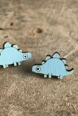 Handmade Dino w/ Scales Lasercut Wood Earrings on Sterling Silver Posts