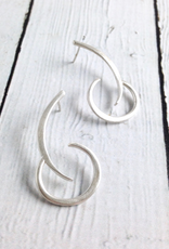Handmade Matte Sterling Silver Abstract Arc and Crescent Post Earrings by Julia Britell Designs