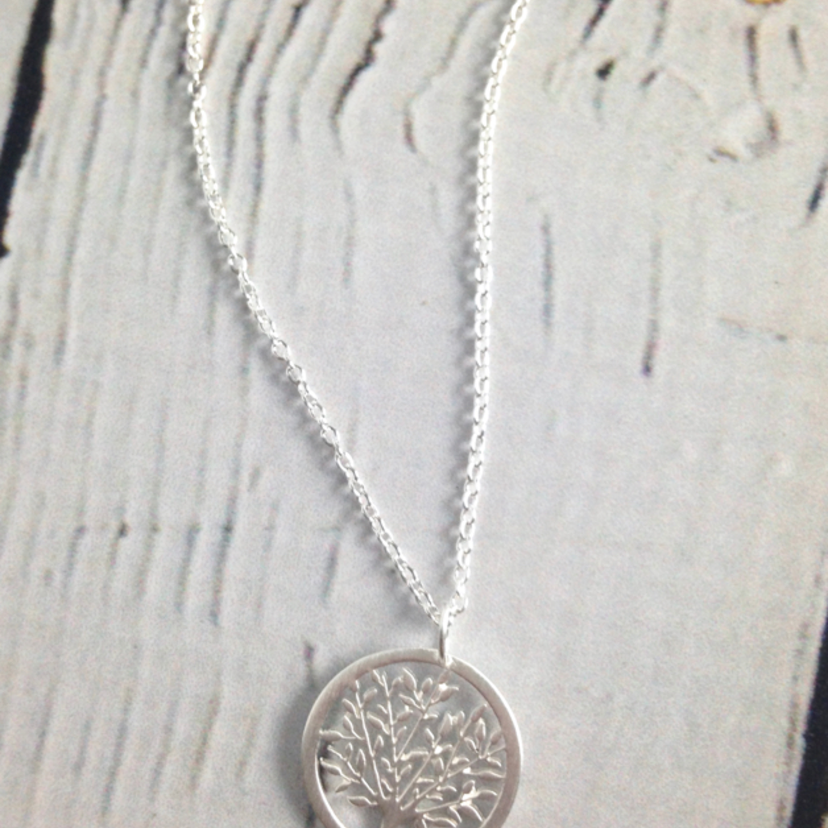 Small Tree in Circle Necklace, Sterling Silver