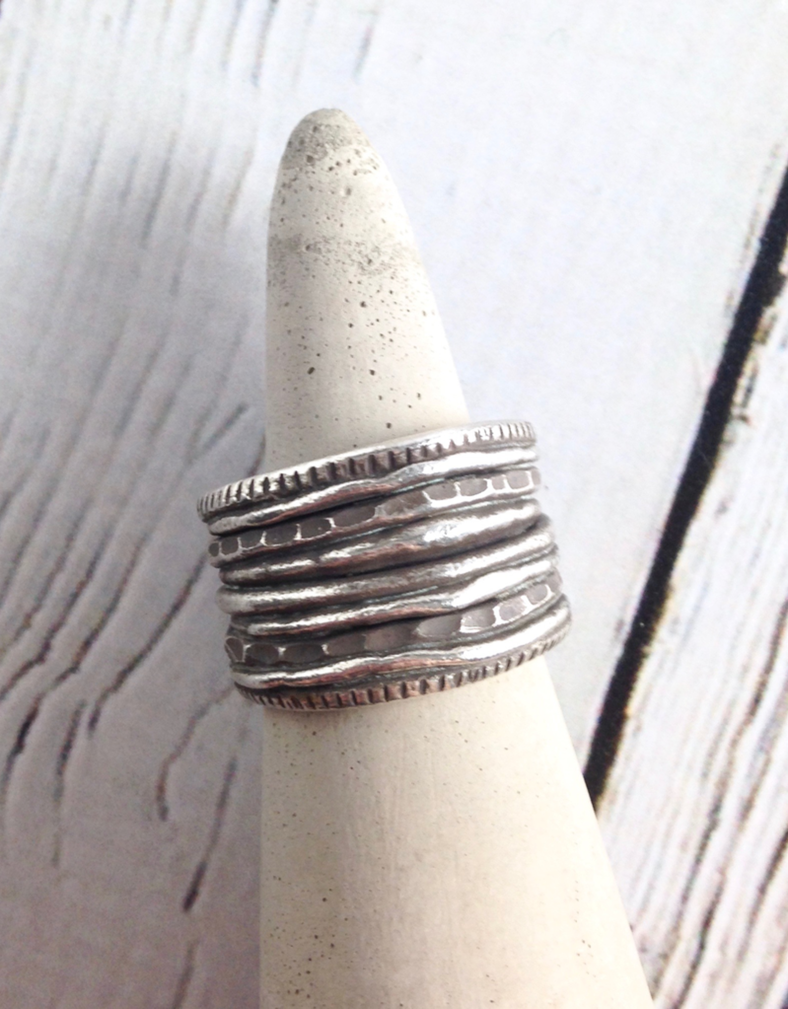 Multi-Layered Look Hilltribe Silver Ring, Size 8