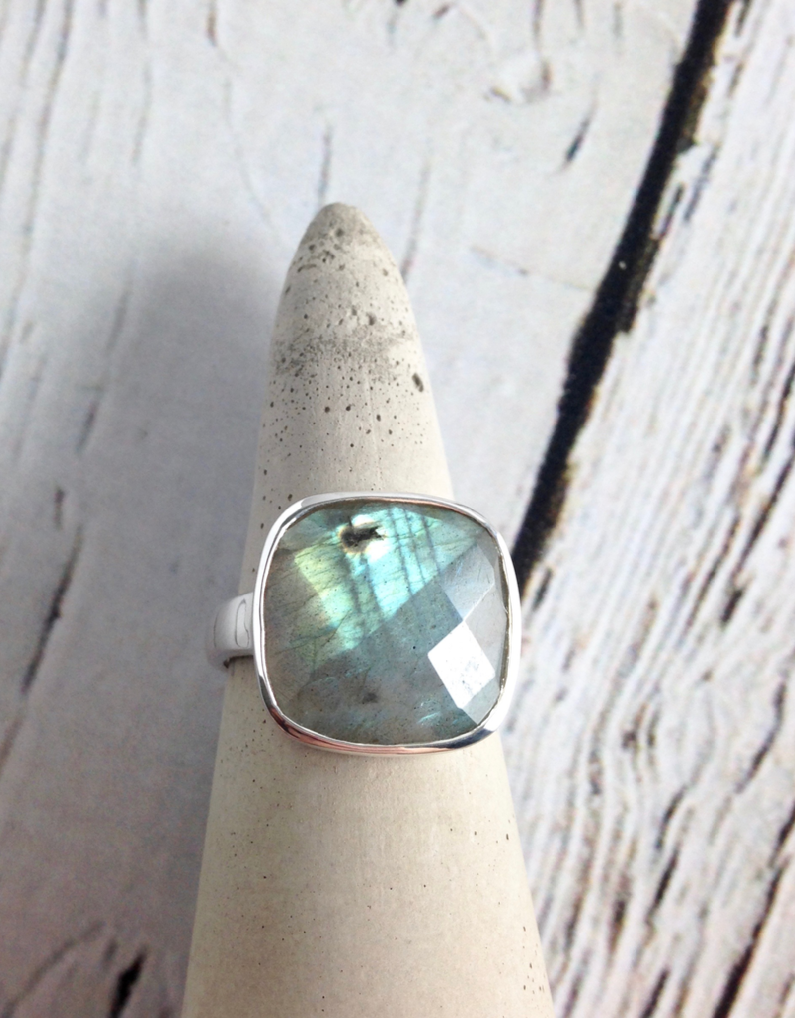 Checkerboard Cut Labradorite Ring, SS, 7