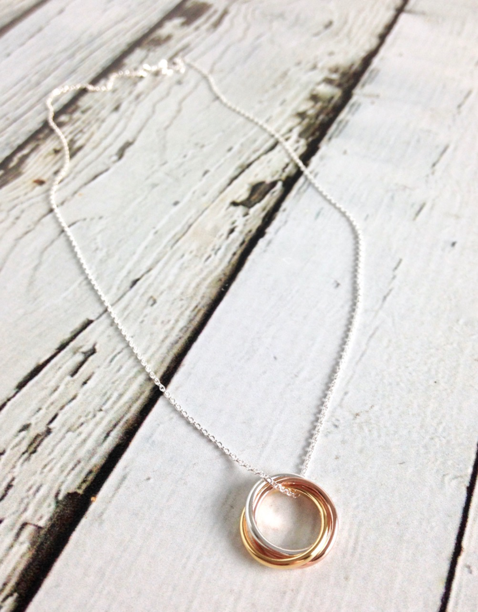 """Sterling Silver 16"""" Necklace with 3 Mixed Metal Rings"""