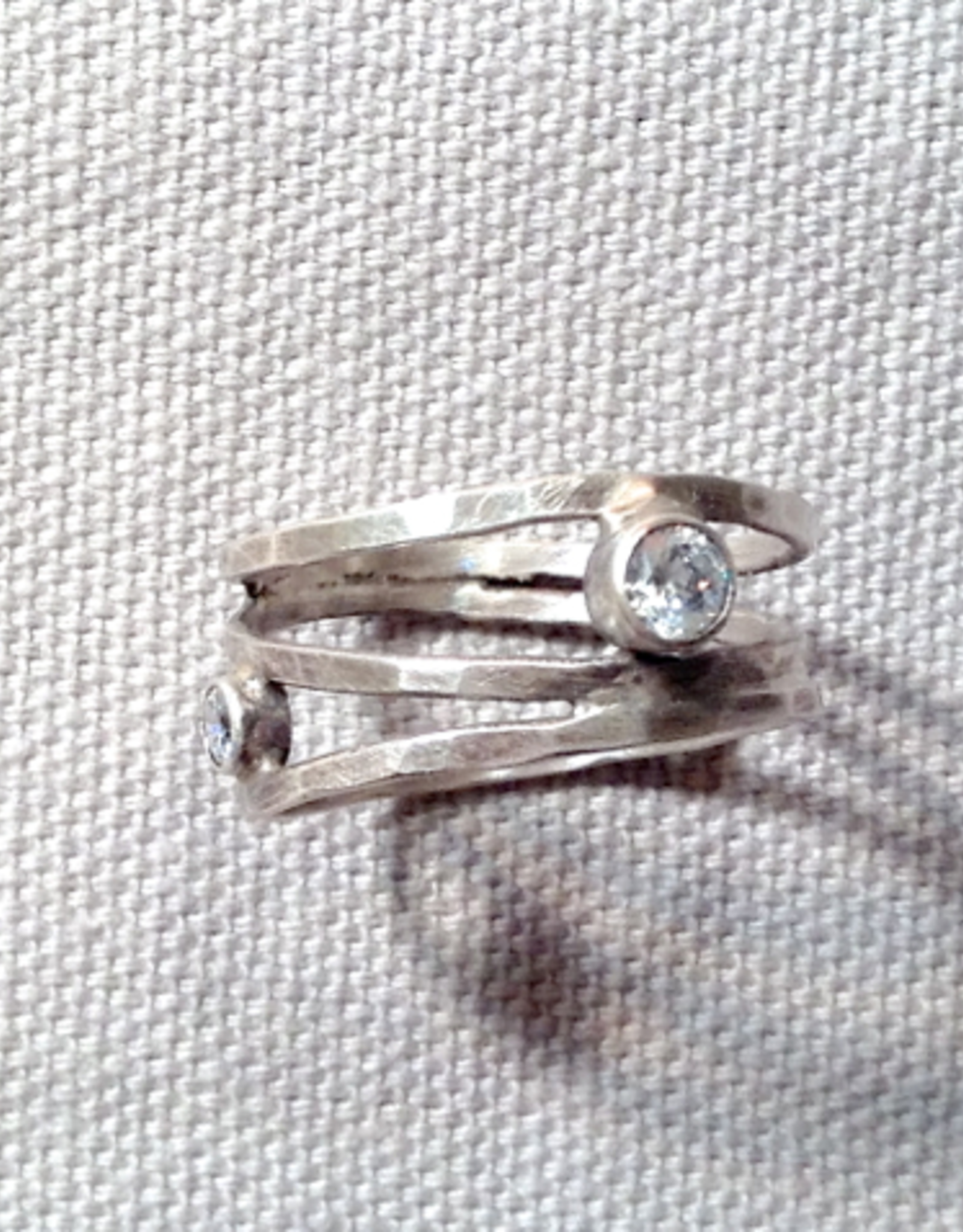 J&I Hammered and Oxidized Sterling Ring with Offset White CZ