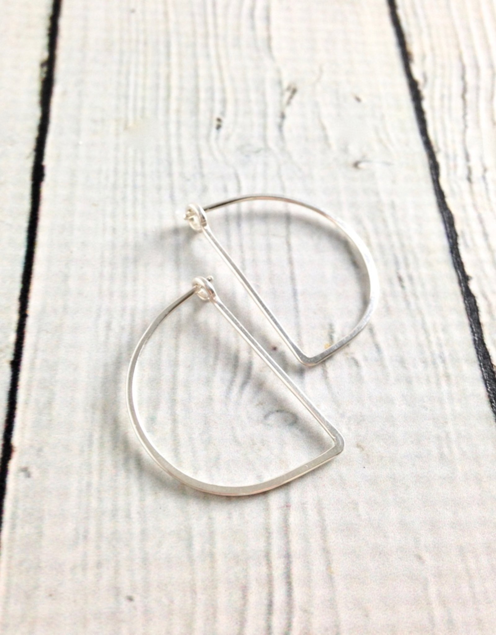 Sterling Silver Small Half Moon Minimal Hoop Earrings