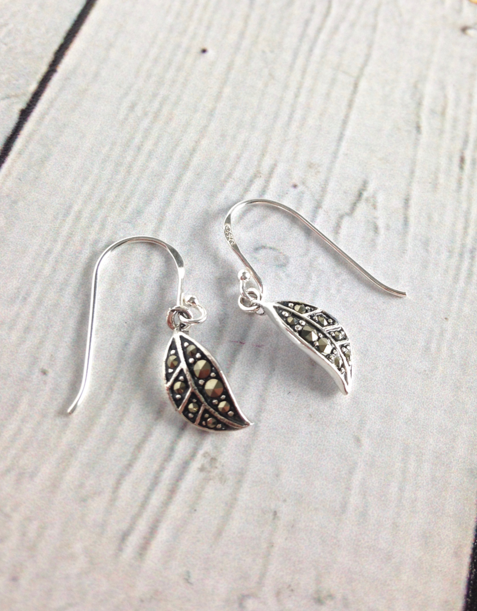 Sterling Silver and Marcasite Leaf Dangle Earrings