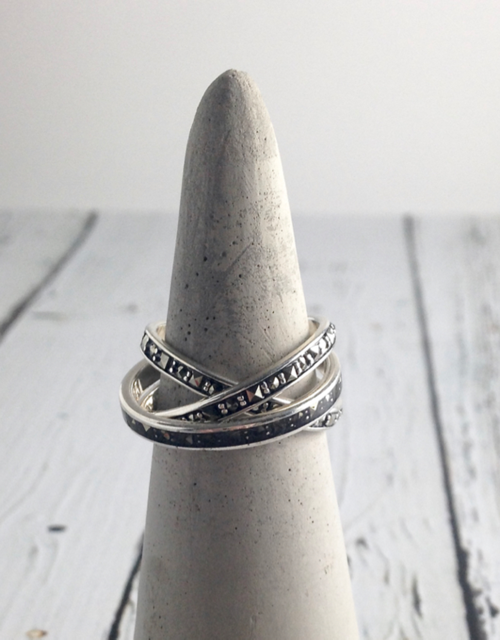 Sterling Silver and Marcasite Sq. Resin Inlay Ring, Size 9