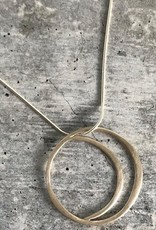 Handmade Silver Crescent in Circle Necklace