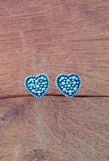 Sterling Silver and Marcasite Heart Stud Earrings