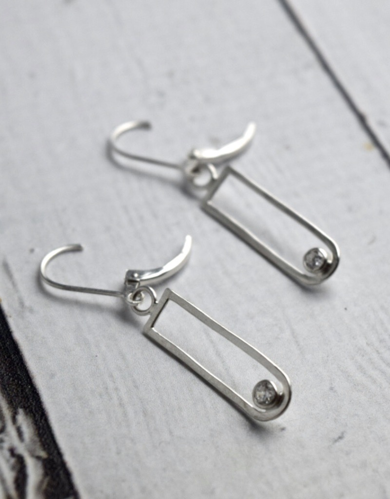Handmade Earrings with Sterling Silver U shaped CZ