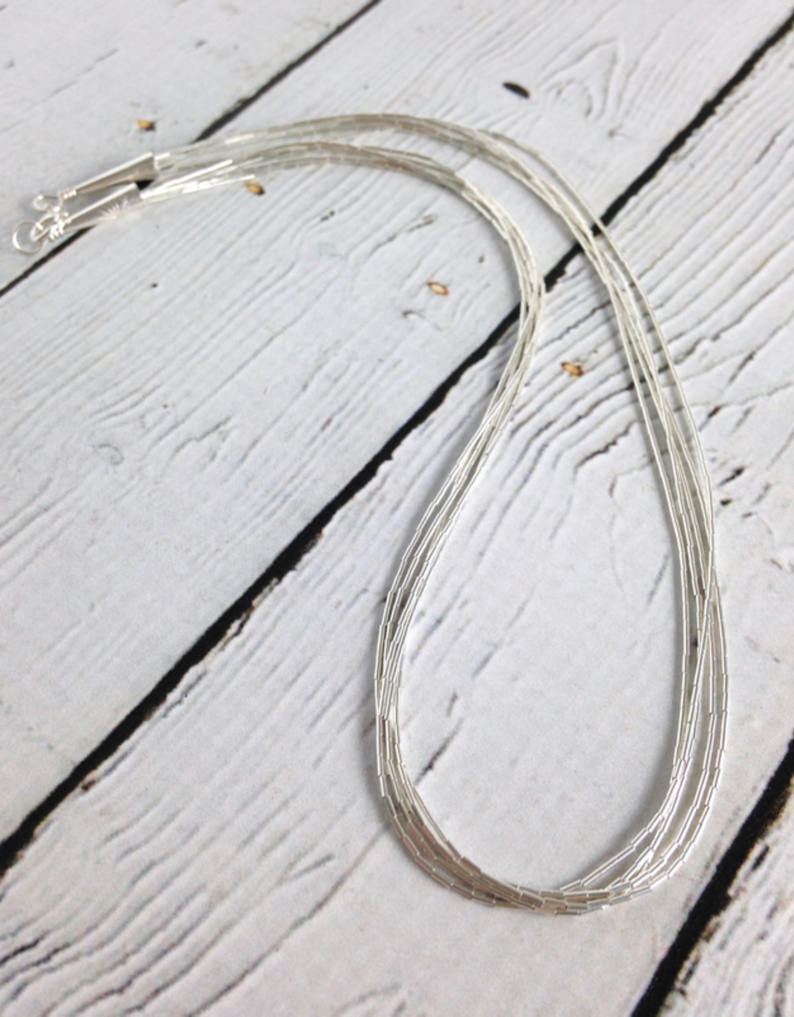 MMA 5 Strand Liquid Silver Necklace: 16""