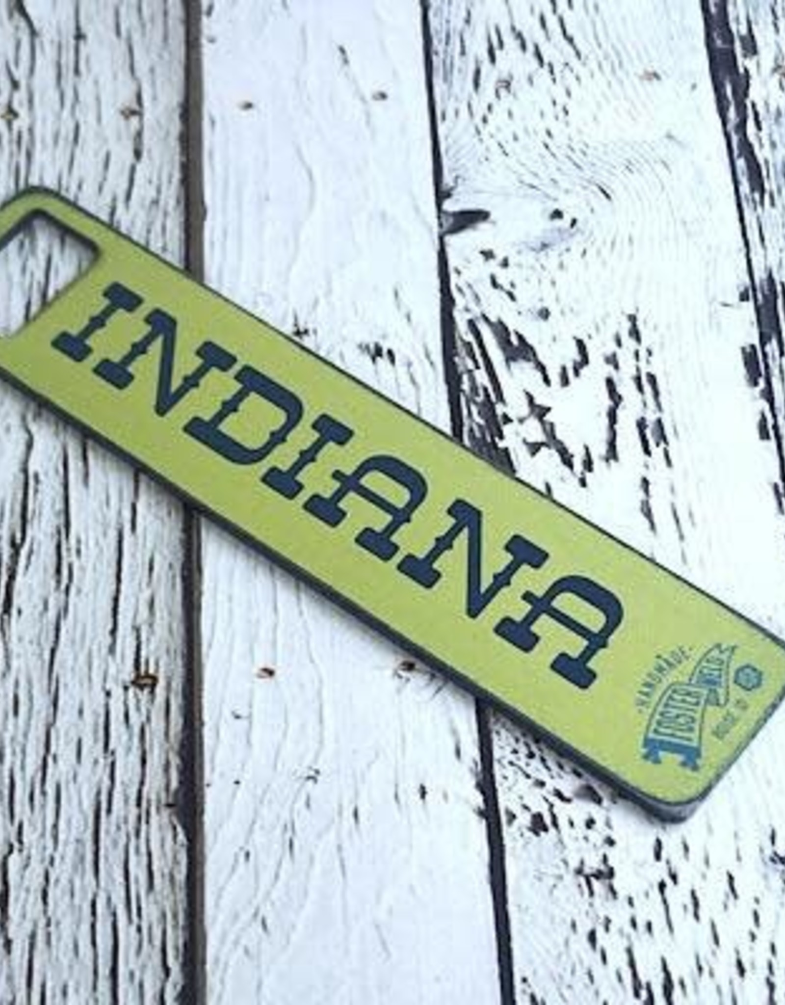 Handwrought Steel INDIANA state flag / Honest to Goodness Bottle Opener by Fosterweld