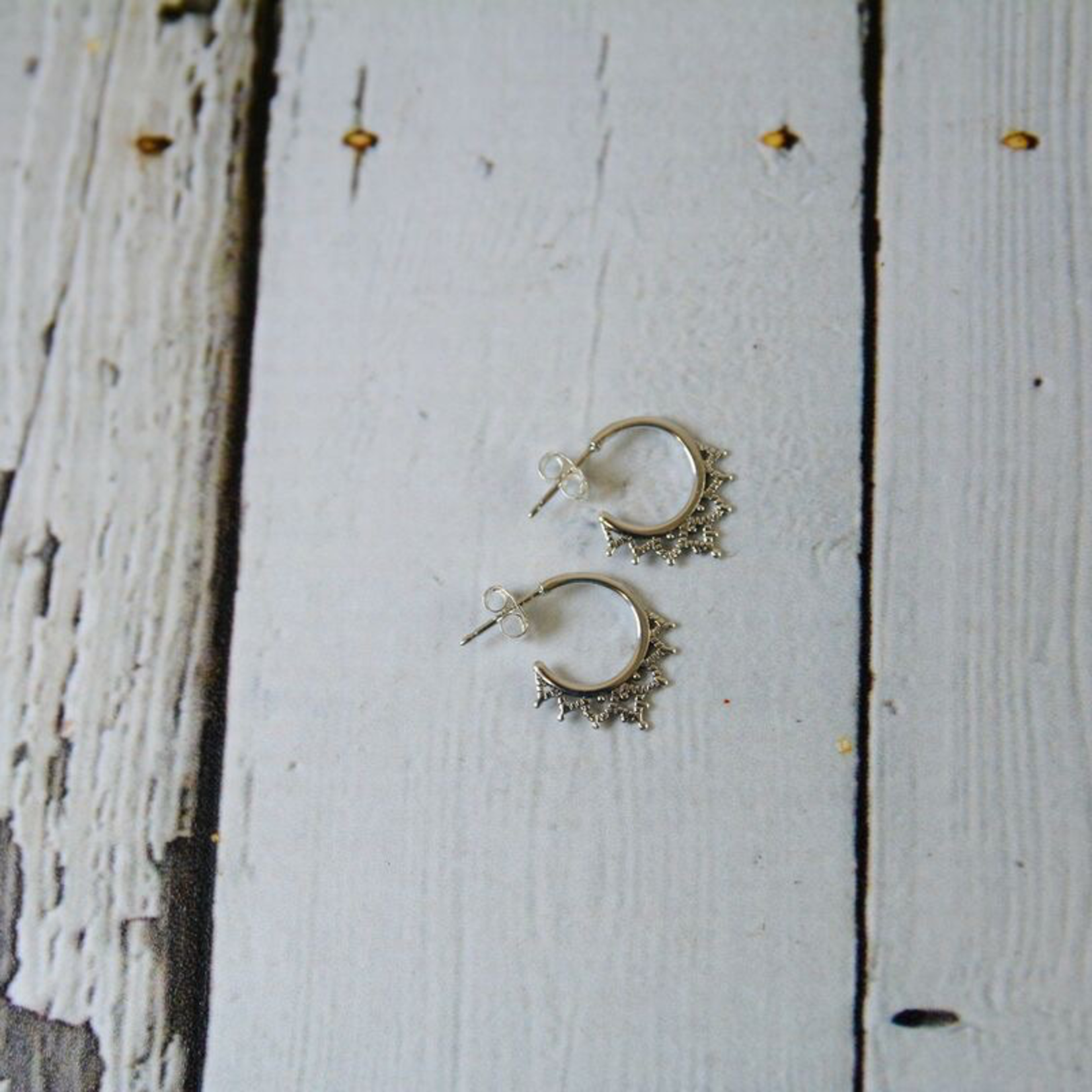Sterling Silver Filigree Semi Hoop Earrings