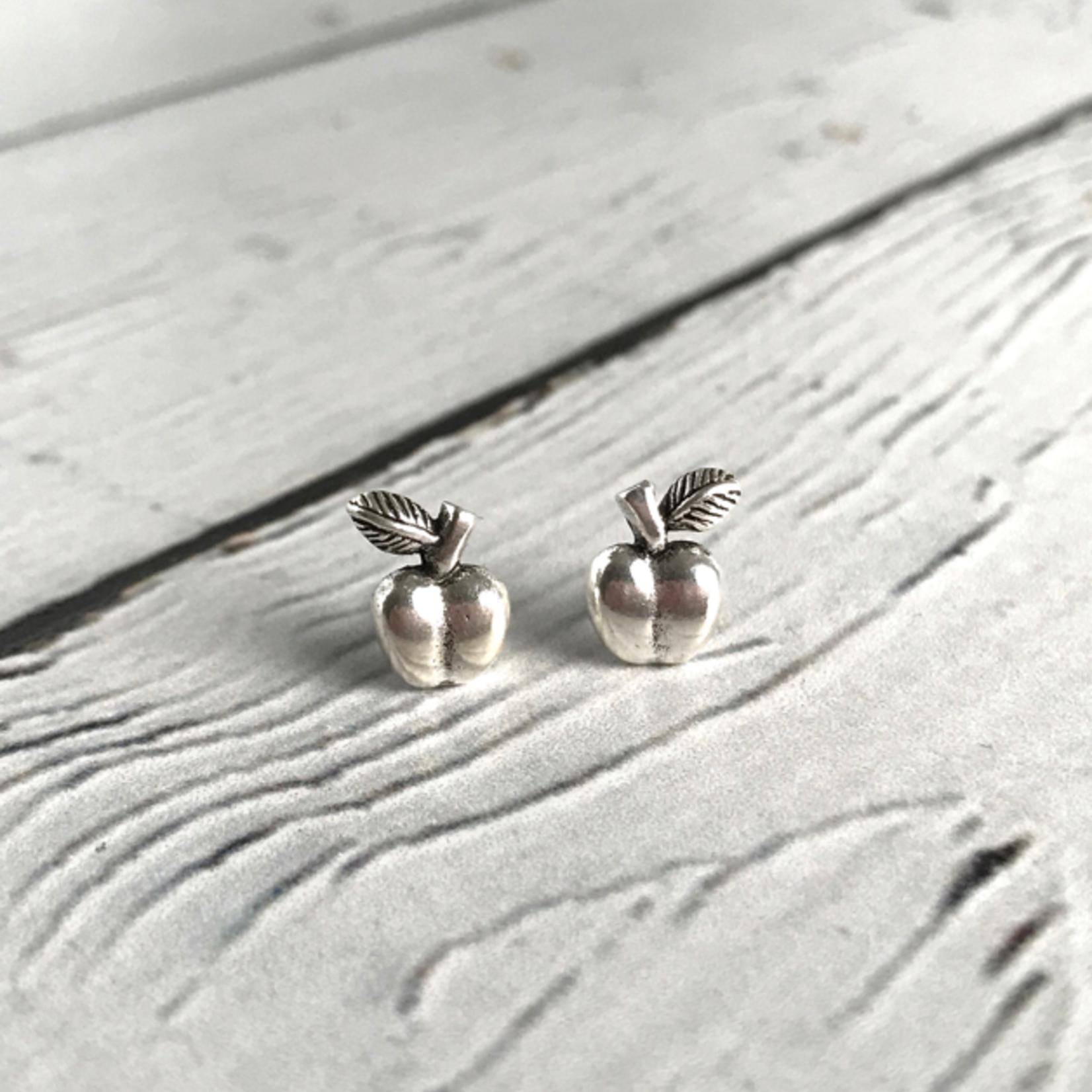 Oxidized Apple stud Earrings, Sterling Silver