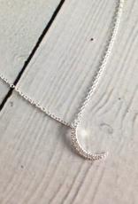 Silver Crescent Moon CZ Pave Necklace