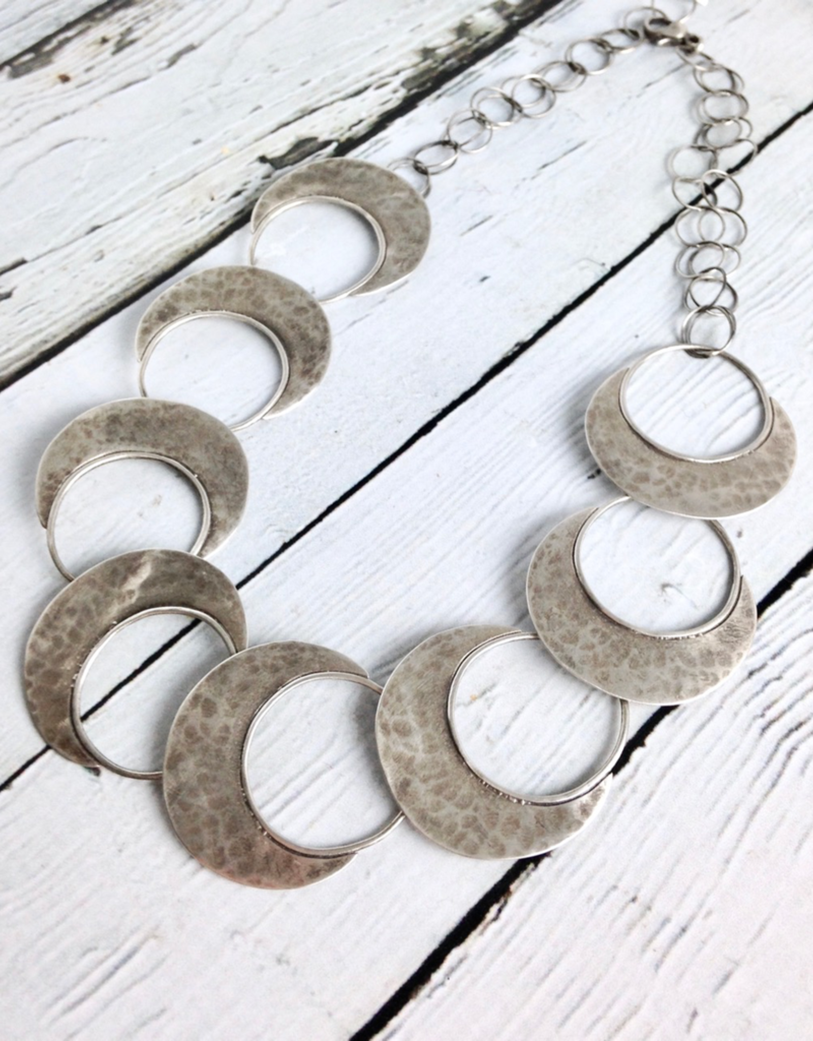 Handmade Sterling Silver Oxidized and textured open circle with solid halfmoon links necklace by Julia Britell Designs