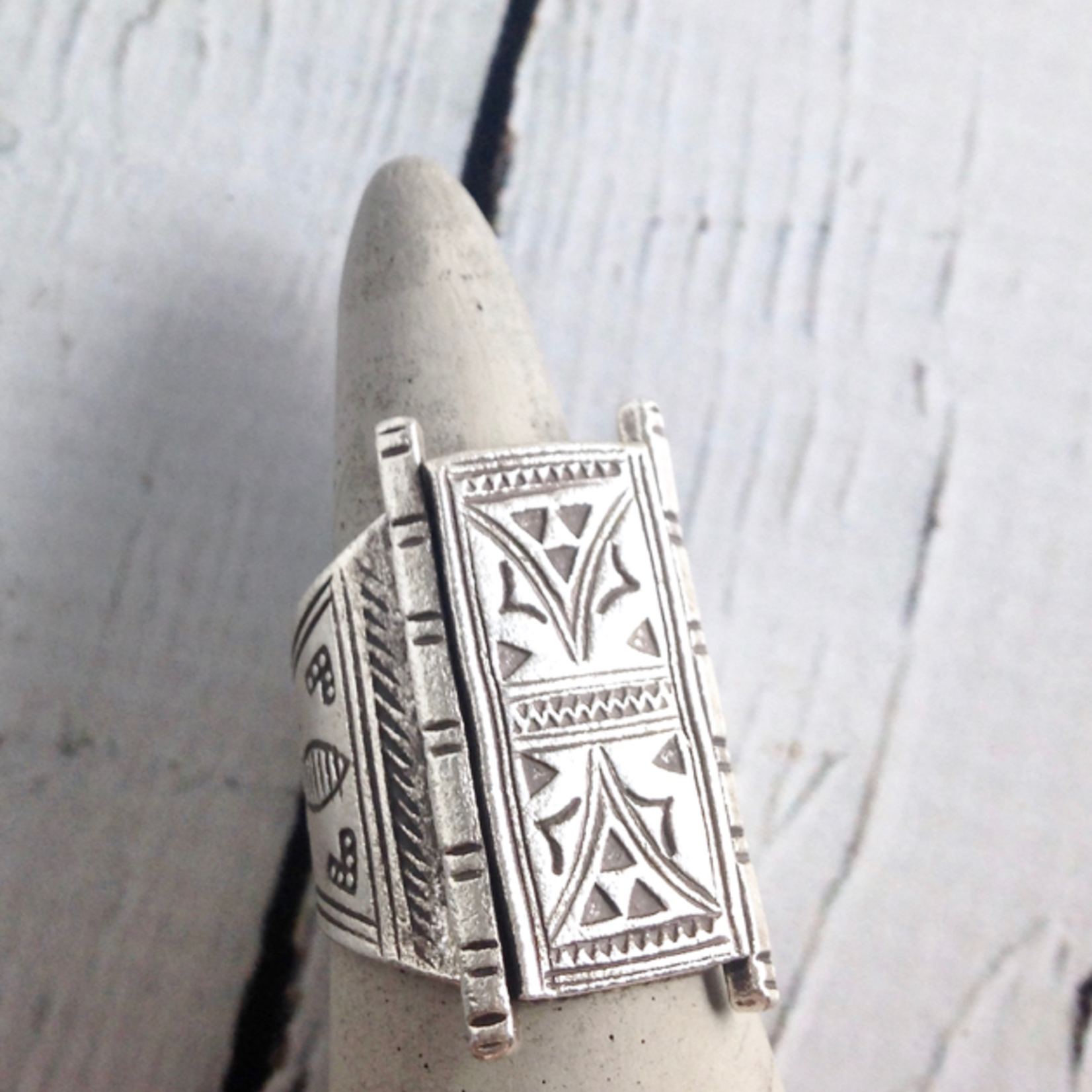 Temple Door Stamped Hilltribe Silver Ring, Size 7