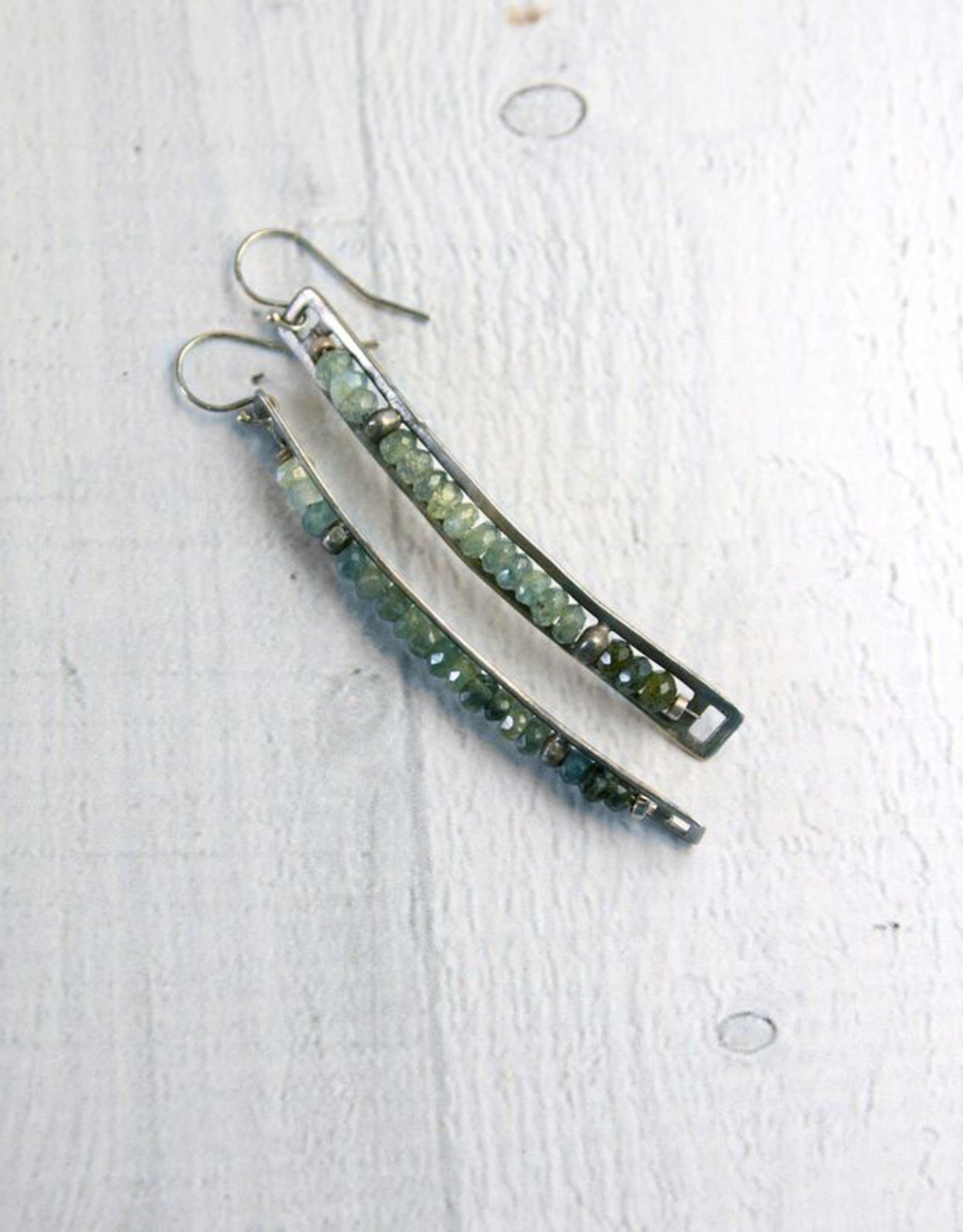 Handmade Matte Sterling Silver Long Vertical Frame Earrings with Aquamarine Row by Julia Britell Designs