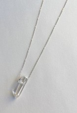Handmade Sterling Silver Necklace with Clear Quartz